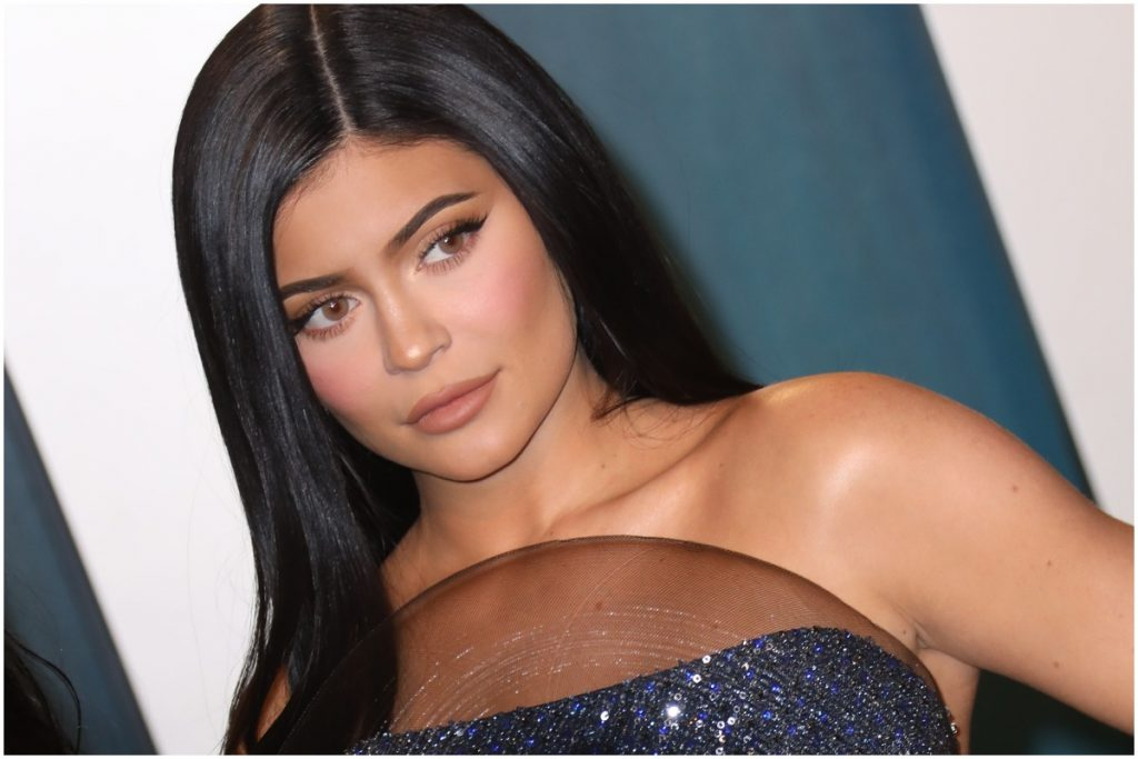 Kylie Jenner looking at the camera while attending the Vanity Fair Oscars party.