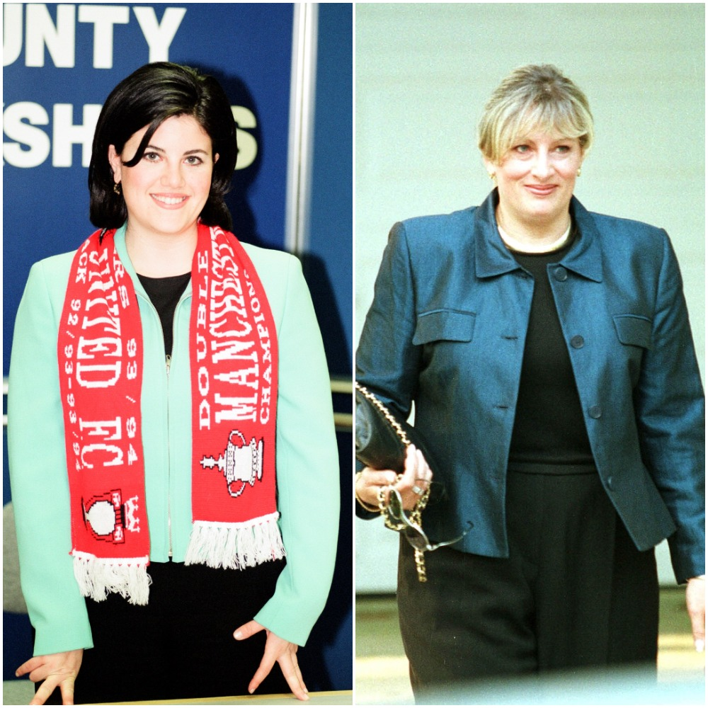 (L) Monica Lewinsky smiling at a book signing tour, (R) Linda Tripp leaves her Maryland home in 1998 to appear at a federal