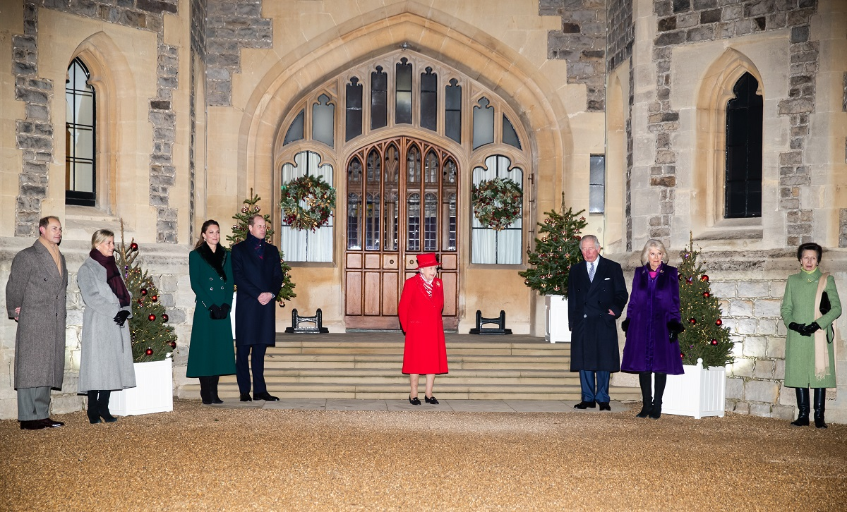 (L to R) Prince Edward, Sophie, Kate Middleton, Prince William, Queen Elizabeth II, Prince Charles, Camilla, and Princess Anne standing outside Windsor Castle