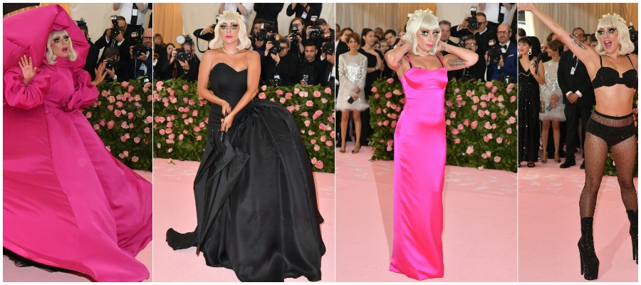 Lady Gaga flaunting her four looks at The Met Gala 2019.