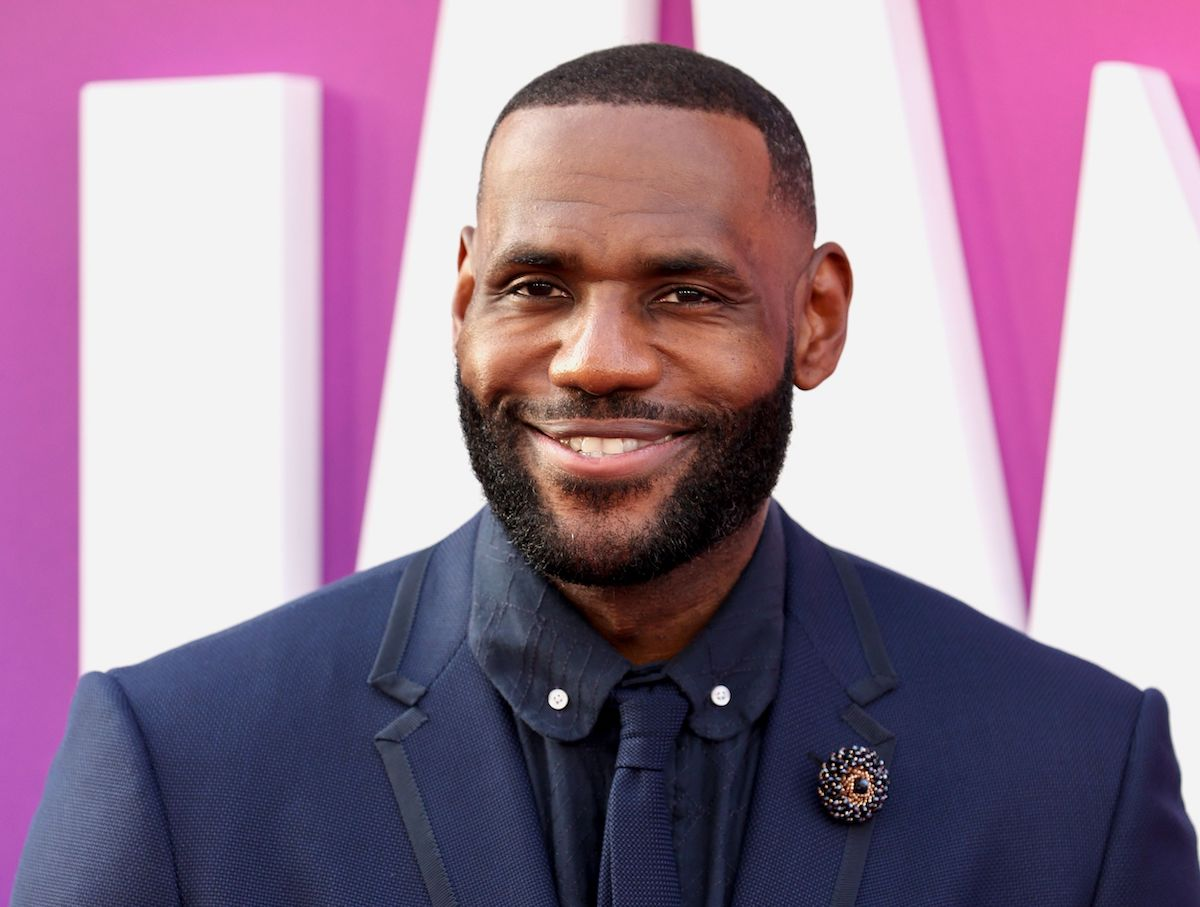 LeBron James on the red carpet in a blue suit