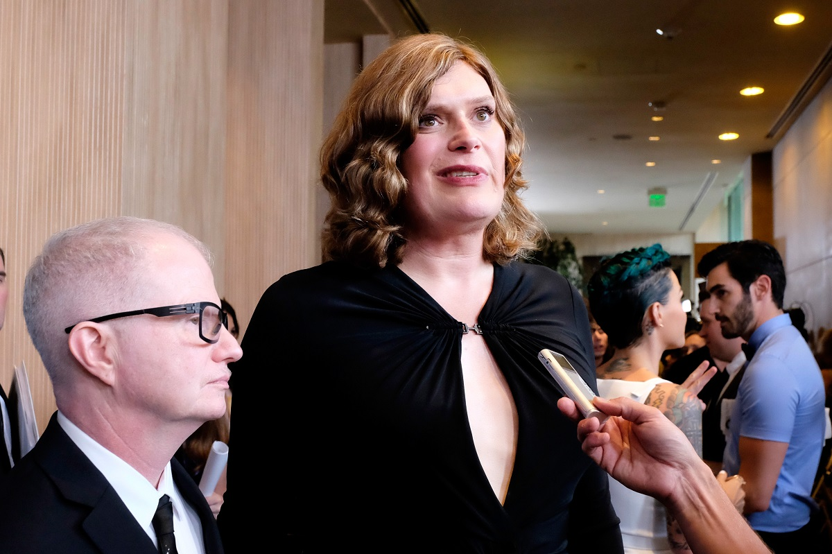 Lilly Wachowski looks at the camera while being interviewed.