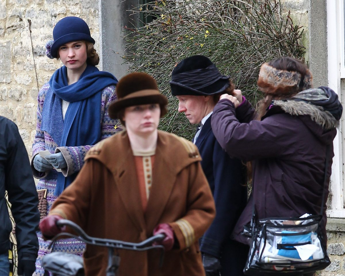 Lily James on the set of 'Downton Abbey.'