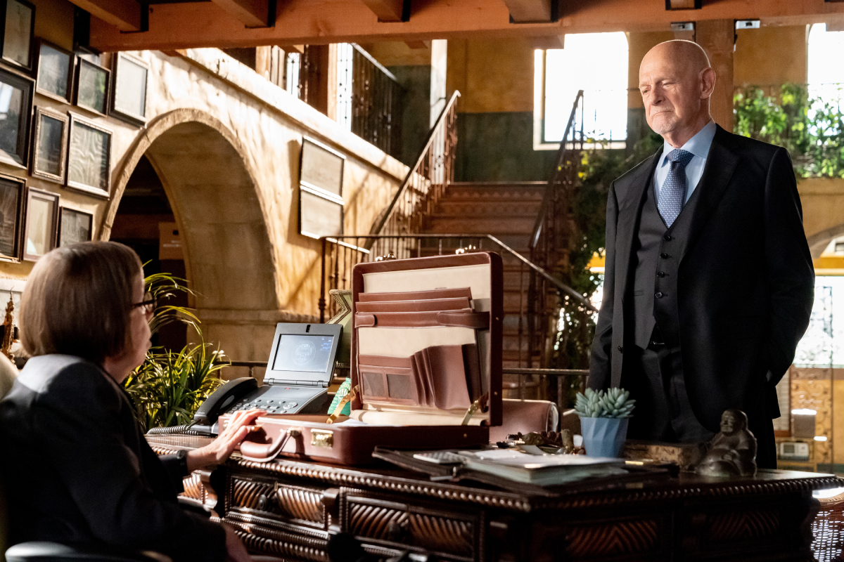 """Linda Hunt (Henrietta """"Hetty"""" Lange) and Gerald McRaney (Retired Admiral Hollace Kilbride) in an image from season 13 of 'NCIS: Los Angeles'"""