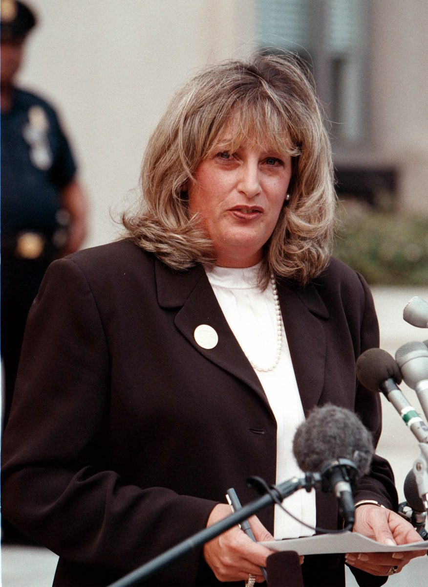 Linda Tripp speaking to the press outside the Federal Courthouse on July 29, 1998