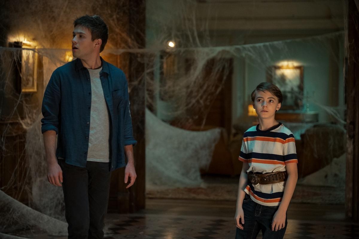 Tyler (Connor Jessup) and Bode (Jackson Robert Scott) look apprehensive in a scene from 'Locke & Key' Season 2.