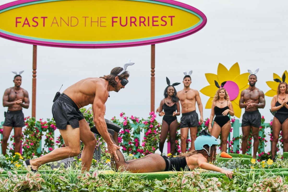 K-Ci Maultsby, Jeremy Hershberg, Bailey Marshall, Trina Njoroge, Andre Brunelli, Alana Paolucci, Charlie Lynch and Olivia Kaiser playing Fast and the Furriest during 'Love Island' season 3 episode 24