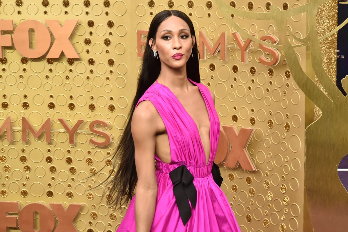 'Pose' star MJ Rodriguez at the 71st Emmys wearing a pink gown on the red carpet.