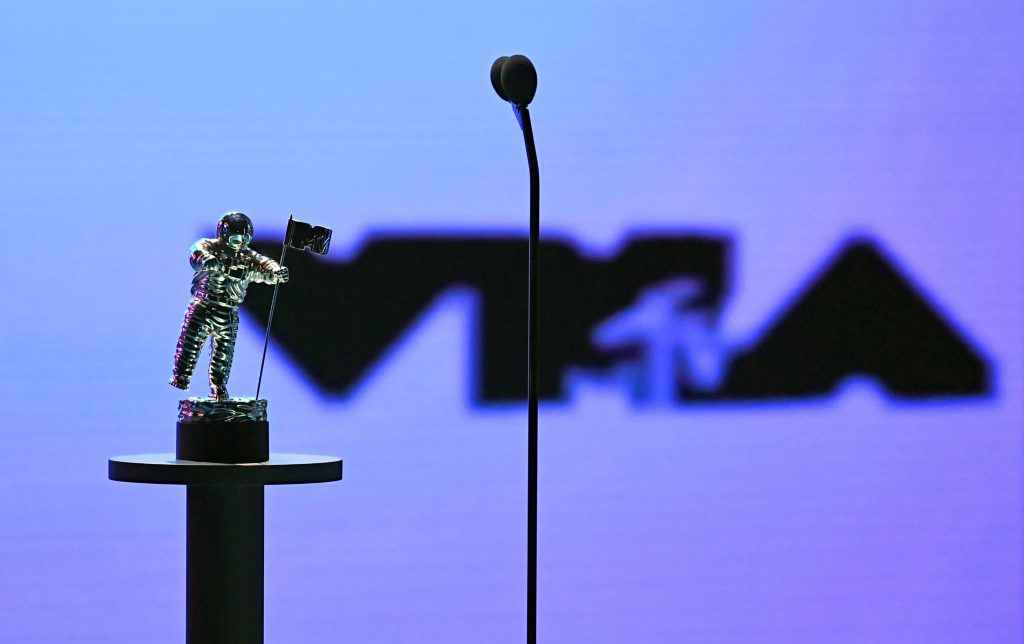 The moon man is seen onstage during the 2020 MTV Video Music Awards