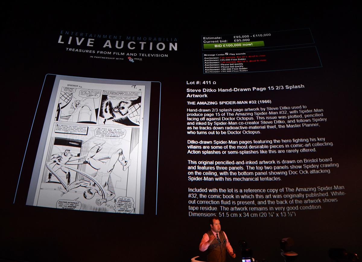 Marvel's Steve Ditko's hand-drawn Spider-Man artwork