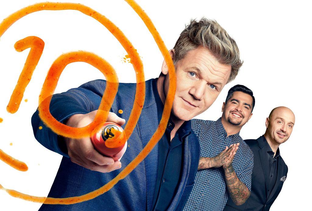 Host/judge Gordon Ramsay, judge Aarón Sánchez and judge Joe Bastianich pose for the promotional photo for 'MasterChef' Season 10.