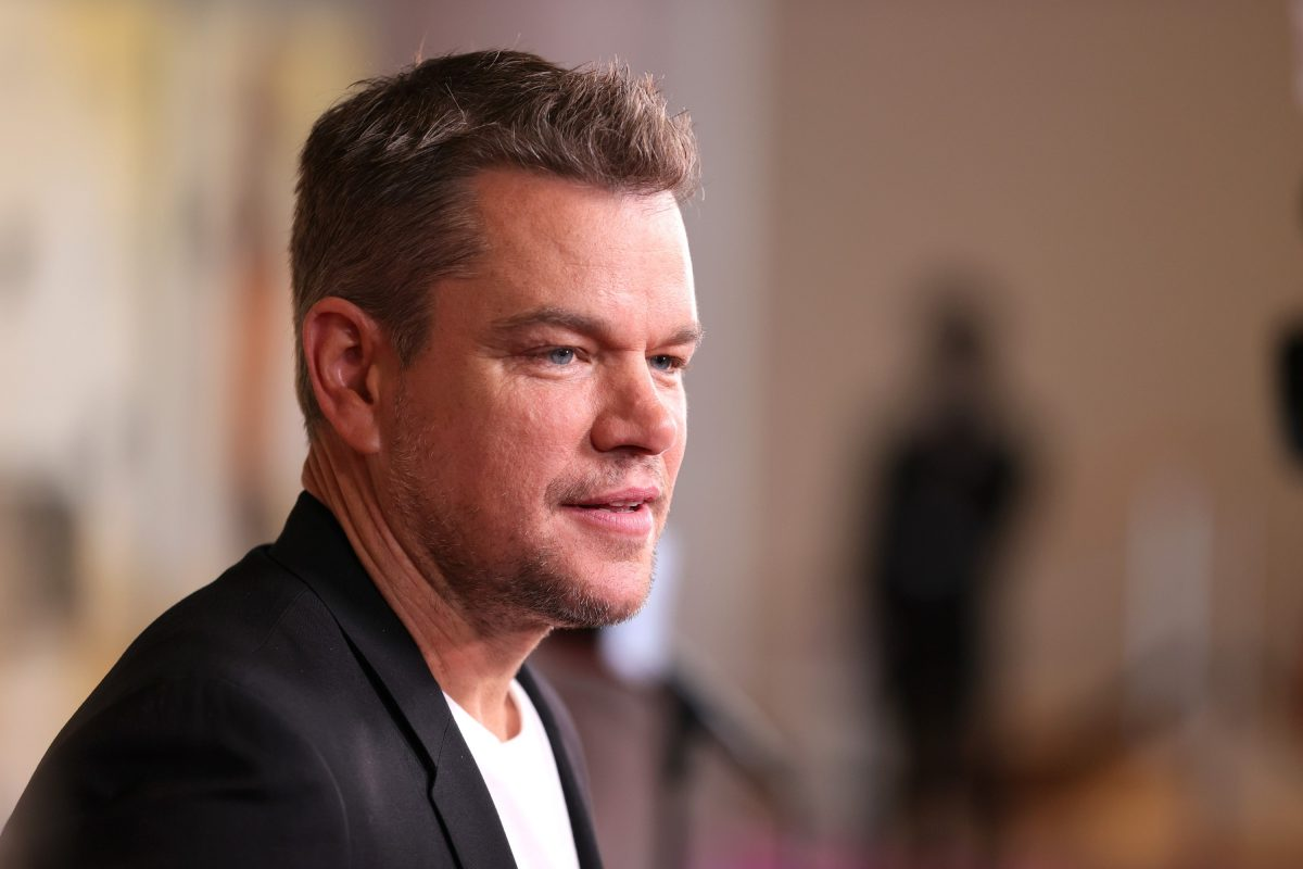 Matt Damon, in a white t-shirt and black jacket with his side toward the camera, at the premiere of his movie 'Stillwater' in New York in 2021.