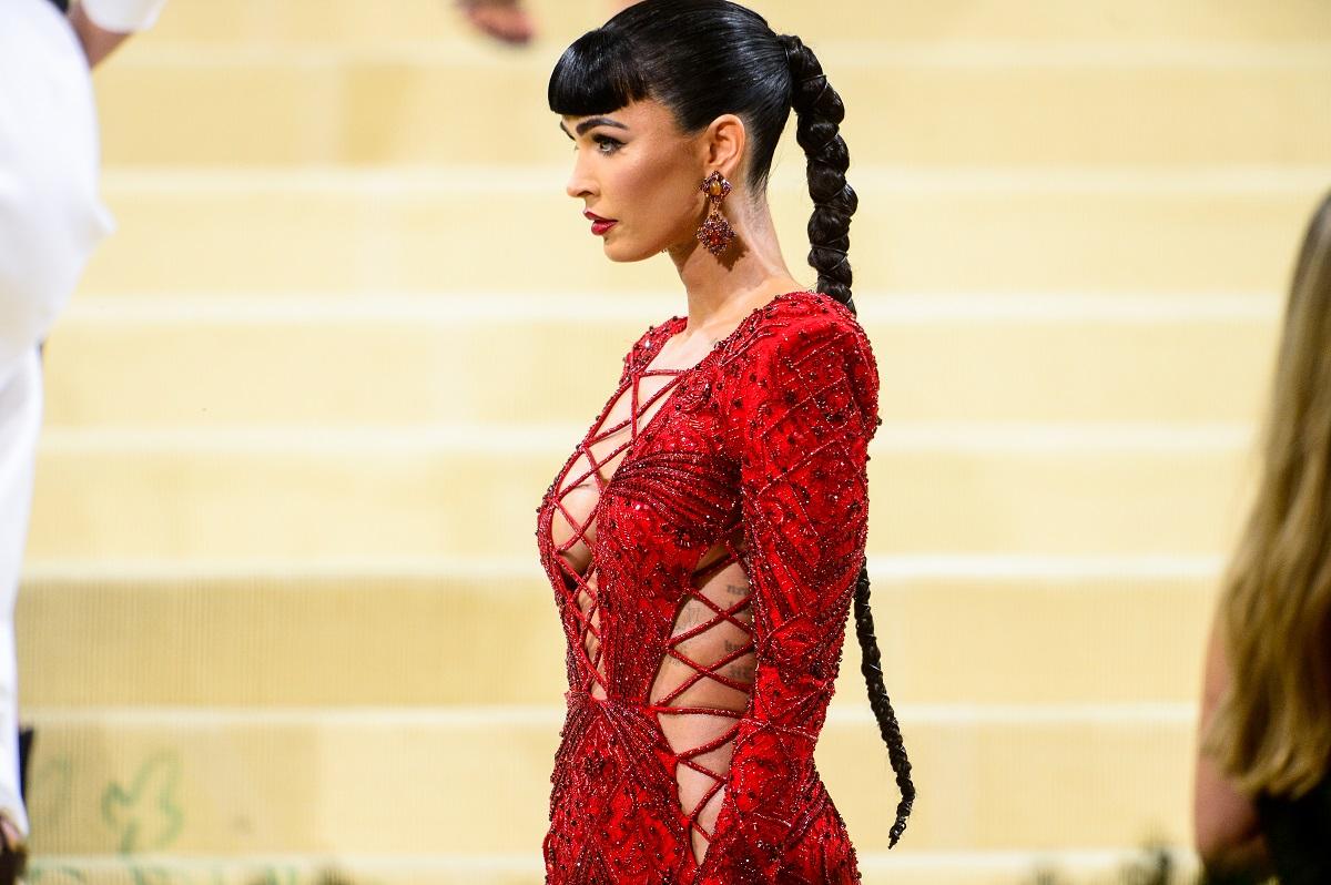 Megan Fox in a red dress at the Met Gala.