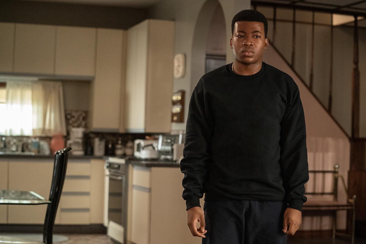Mekai Curtis as Kanan Stark dressed in all black in 'Power Book III: Raising Kanan'