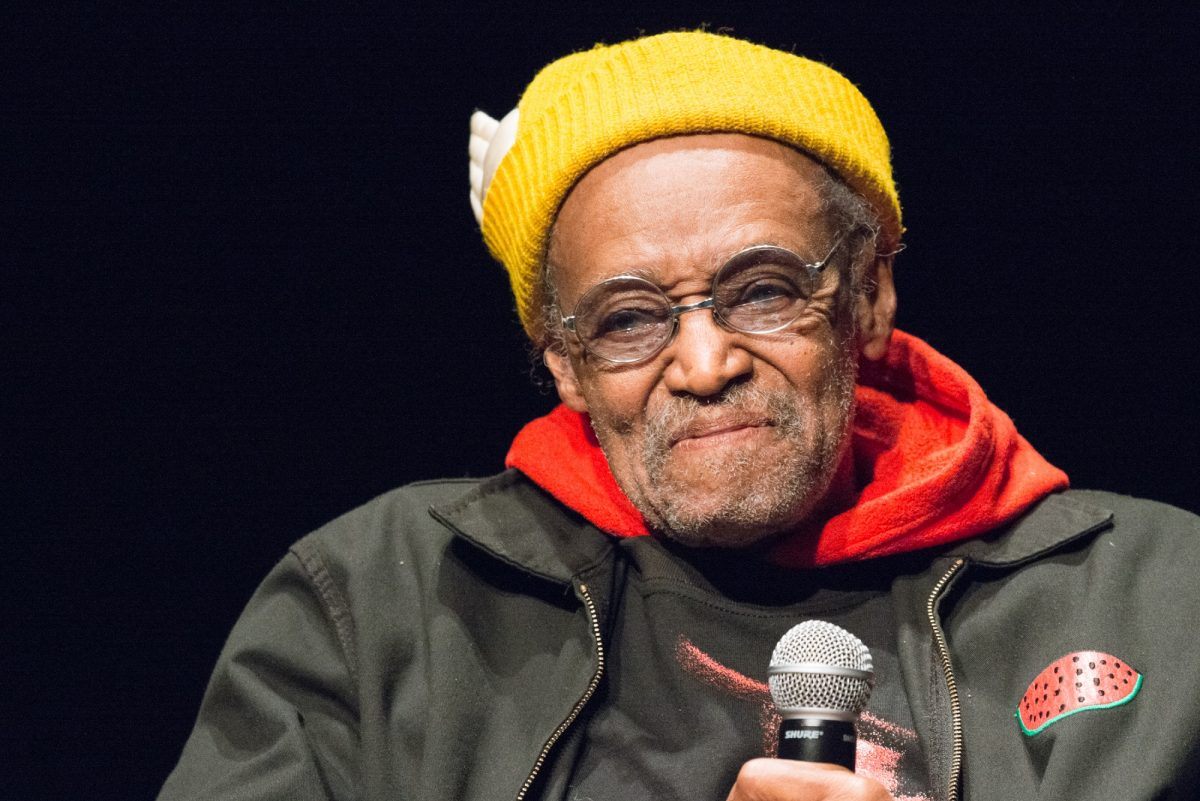 Melvin Van Peebles speaks during the 6th Annual Queens World Film Festival wearing a yellow beanie