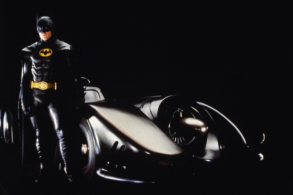 Michael Keaton dressed as Batman for the Tim Burton film 'The Batman.'