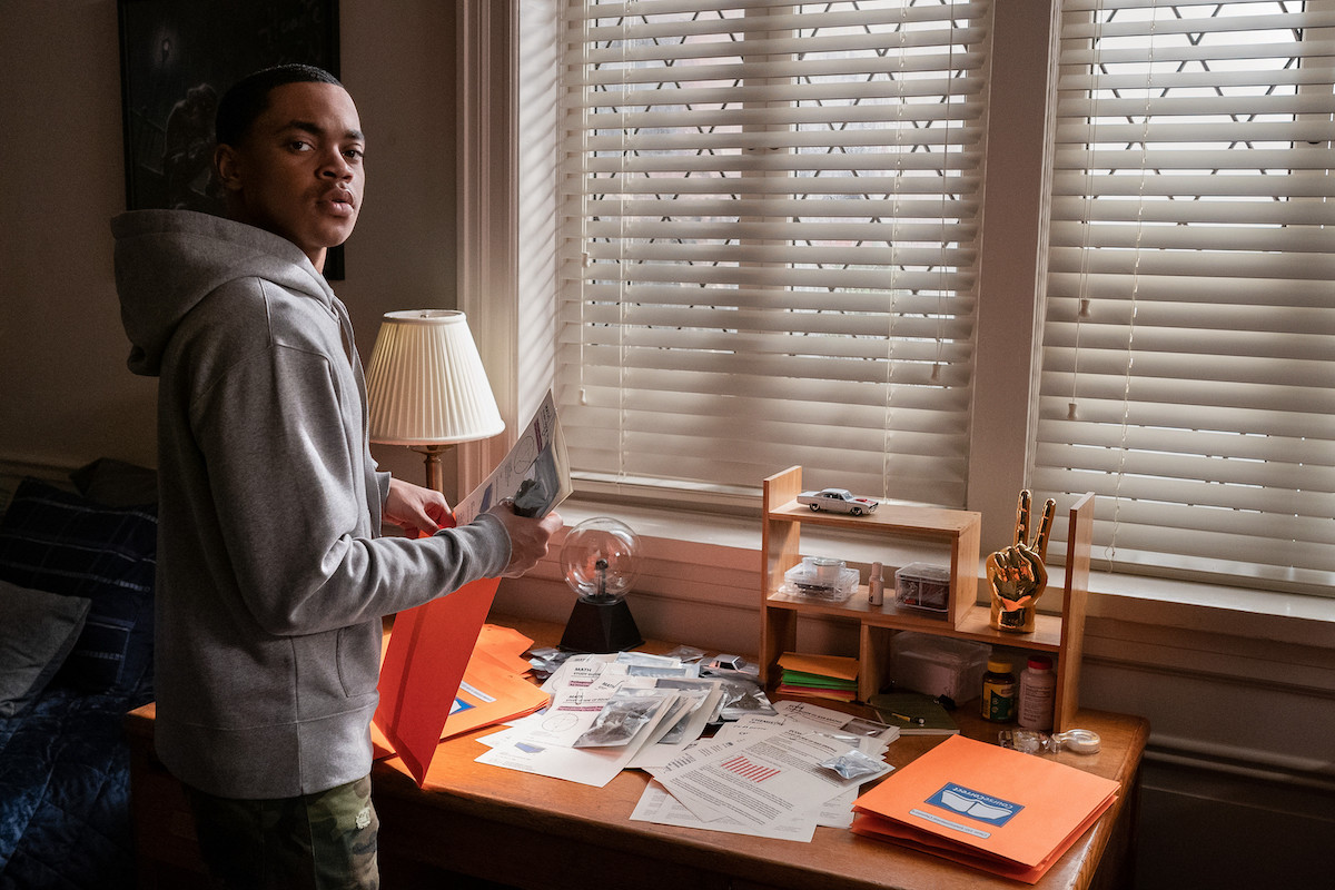 Michael Rainey Jr as Tariq St. Patrick wearing a grey sweatsuit and looking into the camera in 'Power Book II: Ghost'