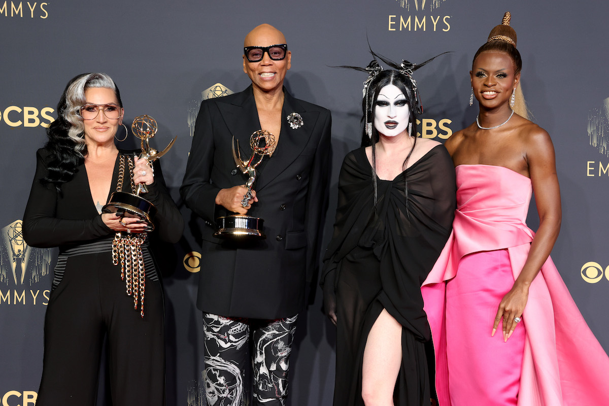 Michelle Visage, RuPaul, Gottmik, and Symone pose together at the 2021 Emmy Awards.
