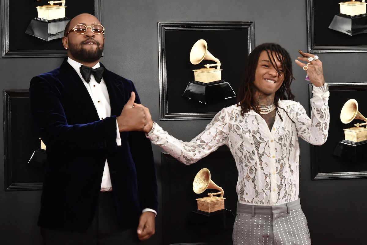 Mike Will Made It wearing a black suit and Swae Lee dressed in a white long-sleeve top with grey pants attend the 61st Annual Grammy Awards at Staples Center on February 10, 2019 in Los Angeles, California.