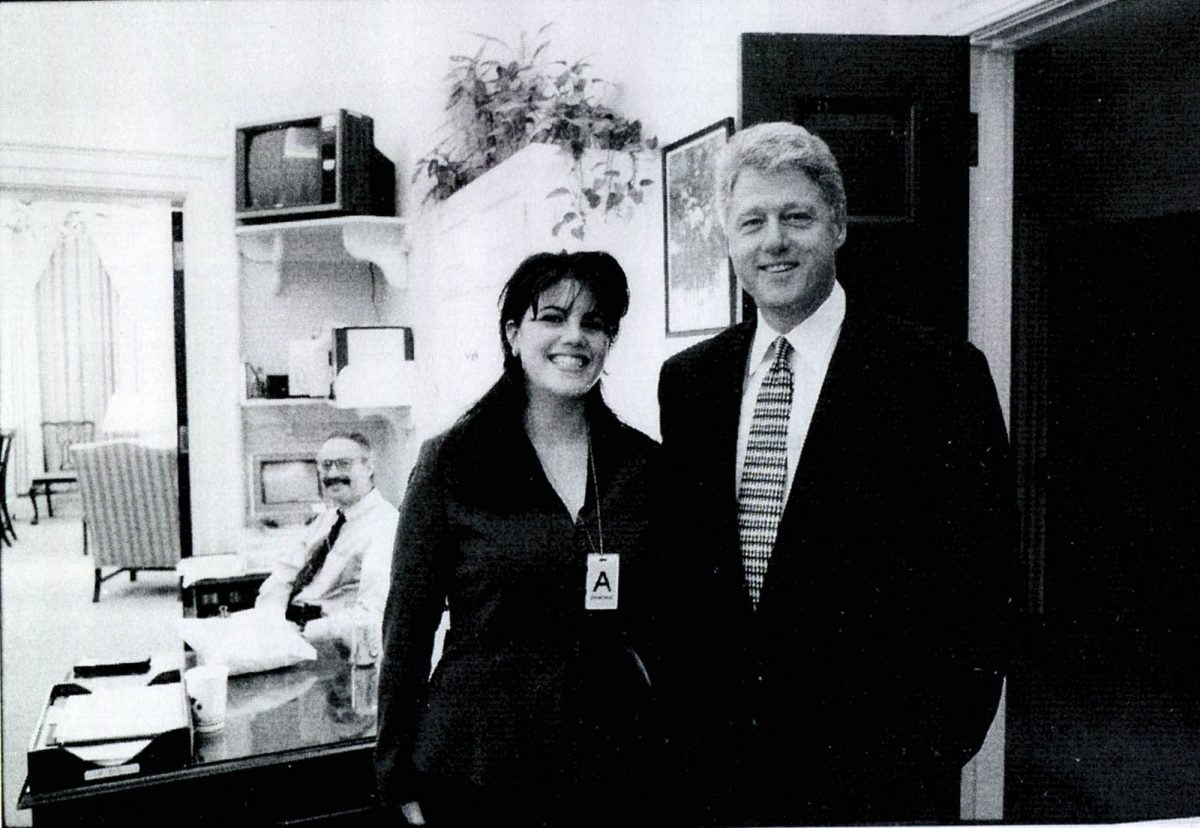 Monica Lewinsky meeting Bill Clinton at a White House function