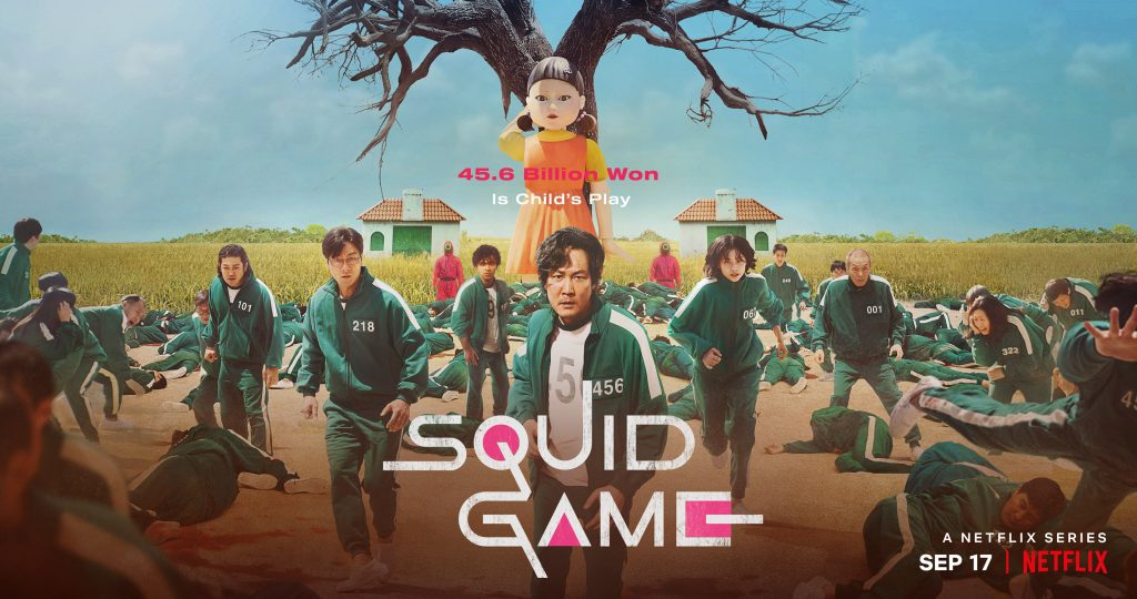 Netflix 'Squid Game' poster with players in green track suits in front of giant robotic doll.
