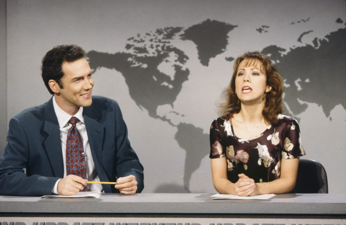 Norm MacDonald and Cheri Oteri during 'Weekend Update' skit. Norm Macdonald's net worth skyrocketed thanks to 'Saturday Night Live'