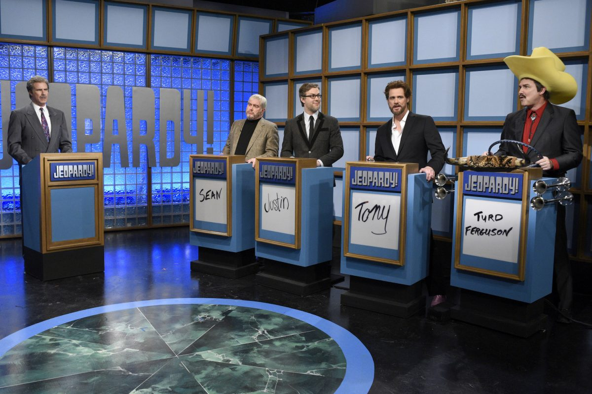 Will Ferrell as Alex Trebek in front of other comedians during the 'Celebrity Jeopardy!' skit. Norm Macdonald's Turd Ferguson on 'Jeopardy!' came from this skit