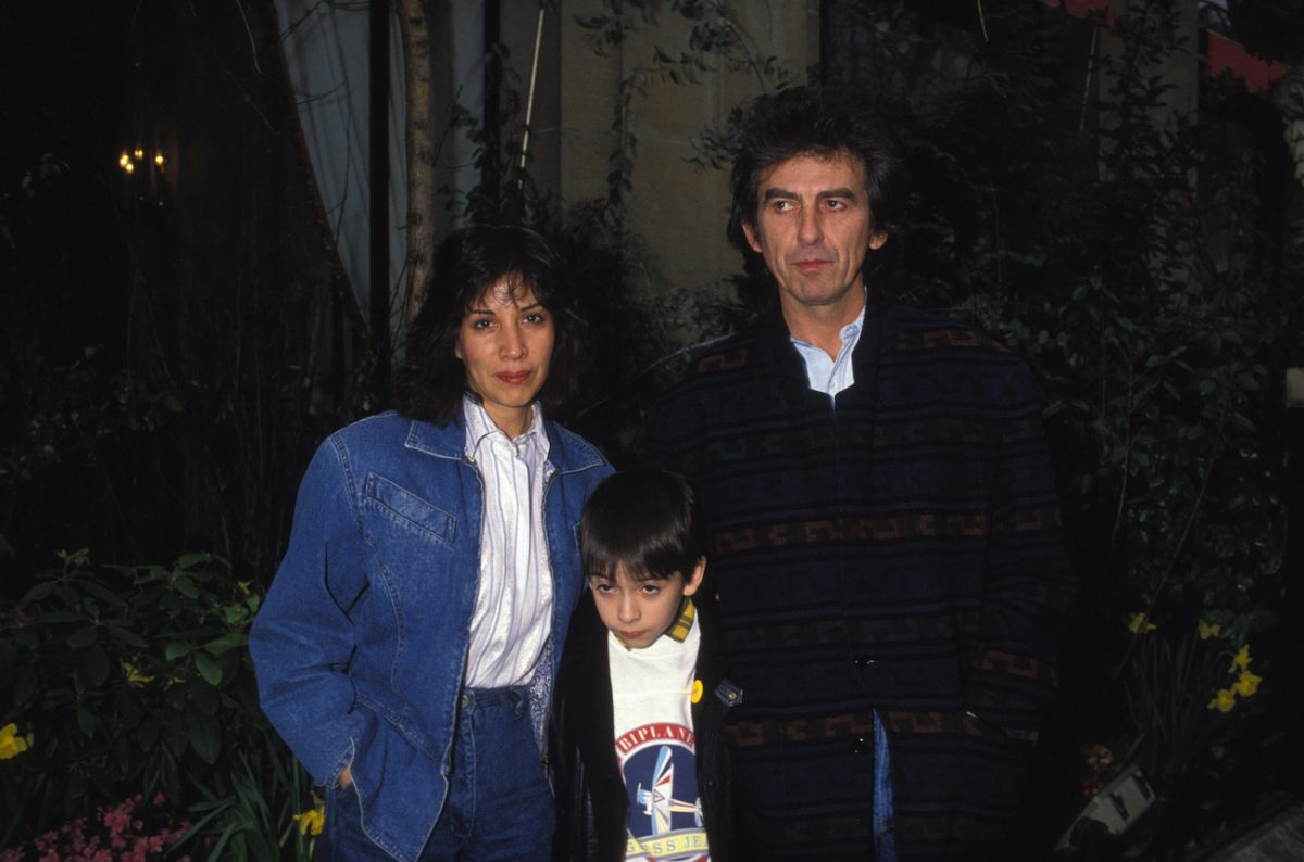Olivia, Dhani, and George Harrison in Paris in 1988.