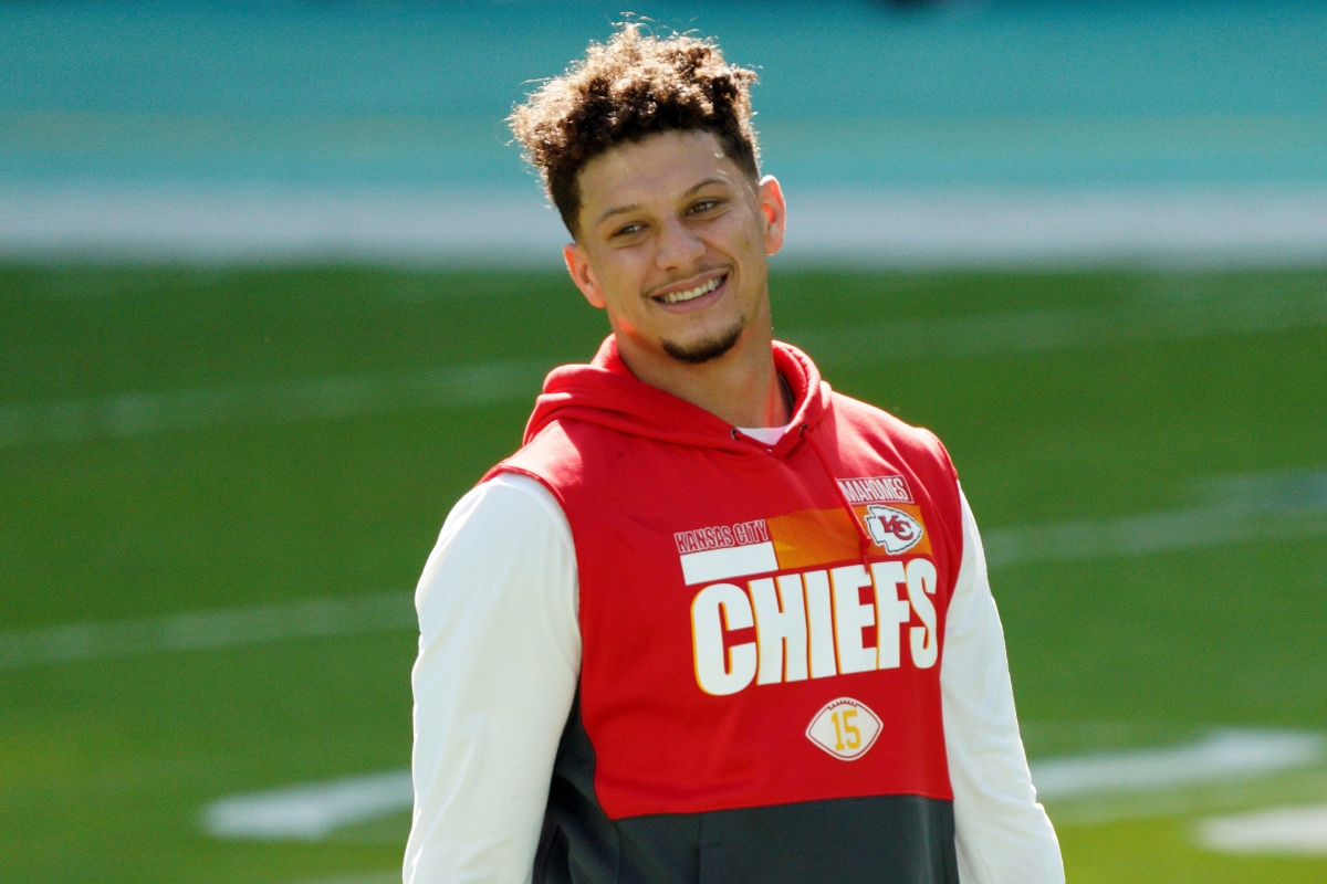 Patrick Mahomes #15 of the Kansas City Chiefs warms up prior to the game against the Miami Dolphins at Hard Rock Stadium on December 13, 2020 in Miami Gardens, Florida