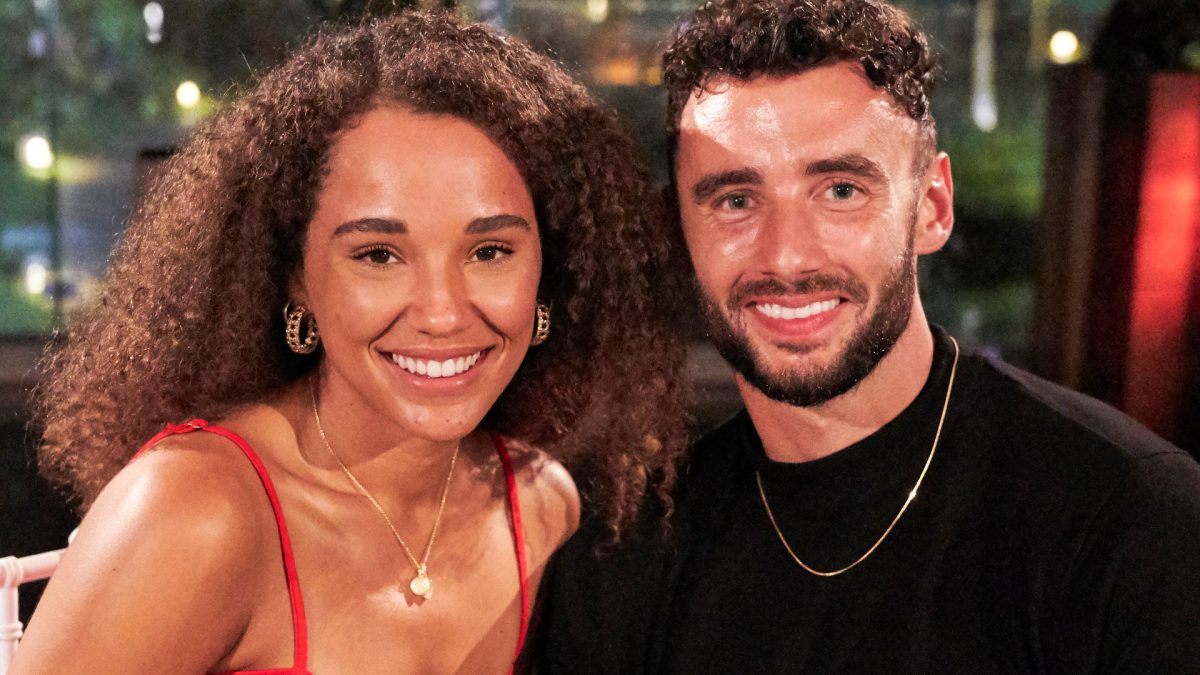 Pieper James and Brendan Morais sit together on their date in 'Bachelor in Paradise' Season 7