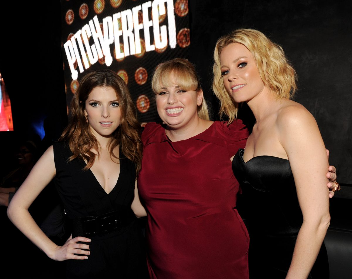 Pitch Perfect stars Anna Kendrick, Rebel Wilson and Elizabeth Banks embrace on the red carpet