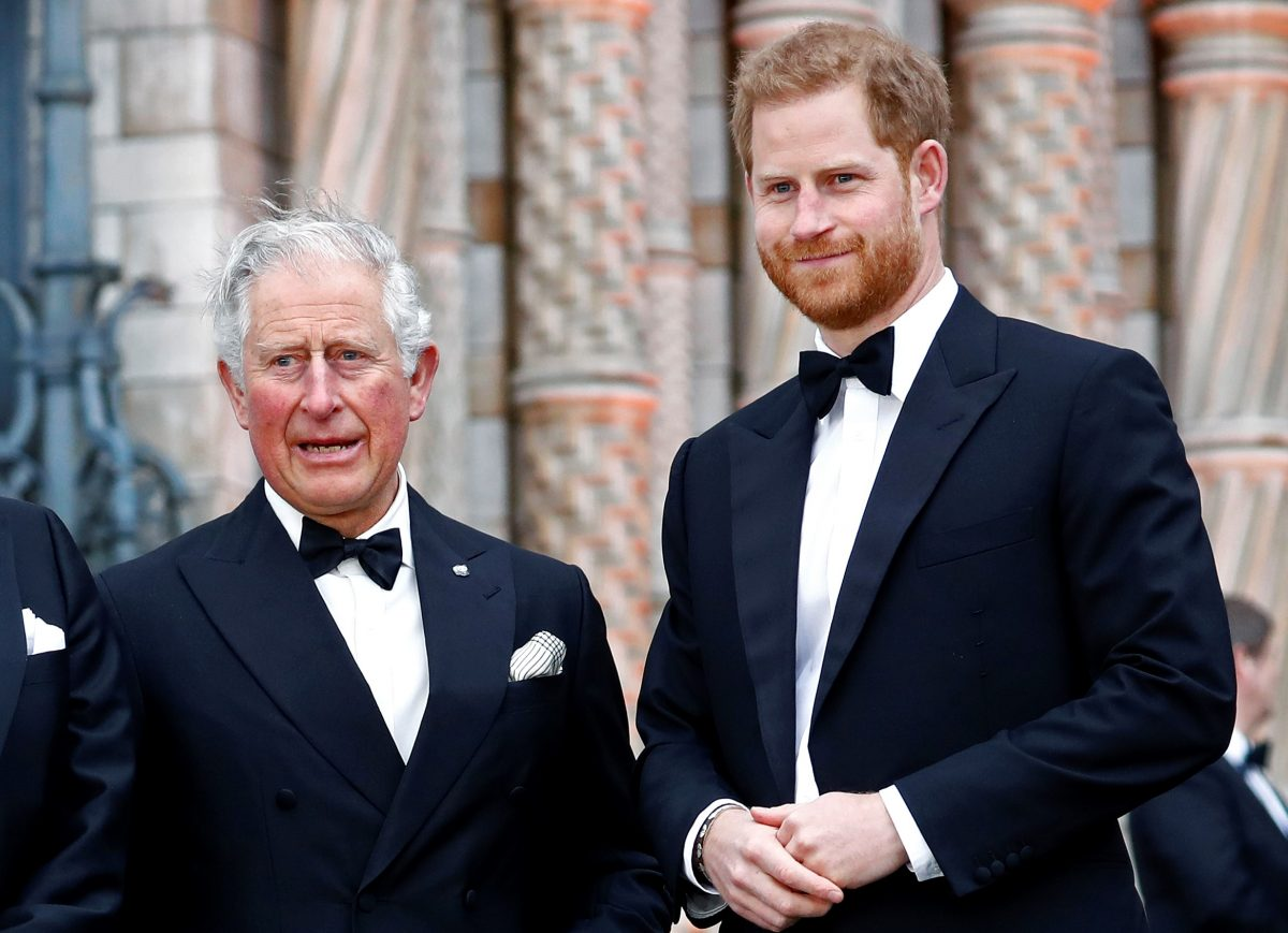 Prince Charles and Prince Harry dressed in tuxedos at the 'Our Planet' global premiere