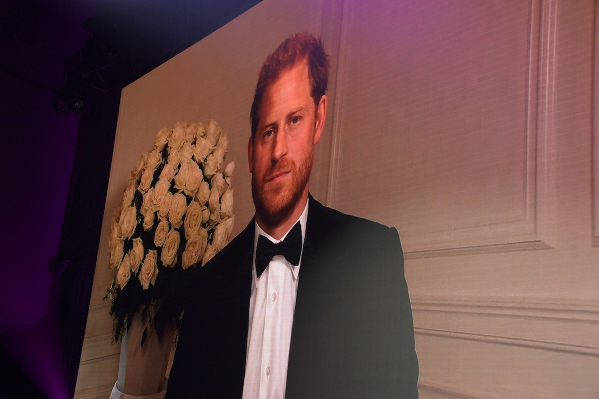 Prince Harry speaks during a virtual appearance at the British GQ Men of the Year Awards wearing a tuxedo