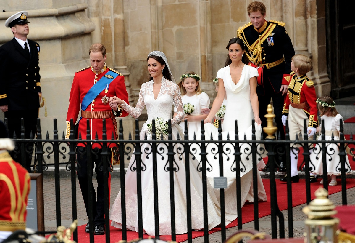 Prince William and Kate Middleton leave Westminster Abbey, followed by Bridesmaid Pippa Middleton, Prince Harry and young pageboys and bridesmaids