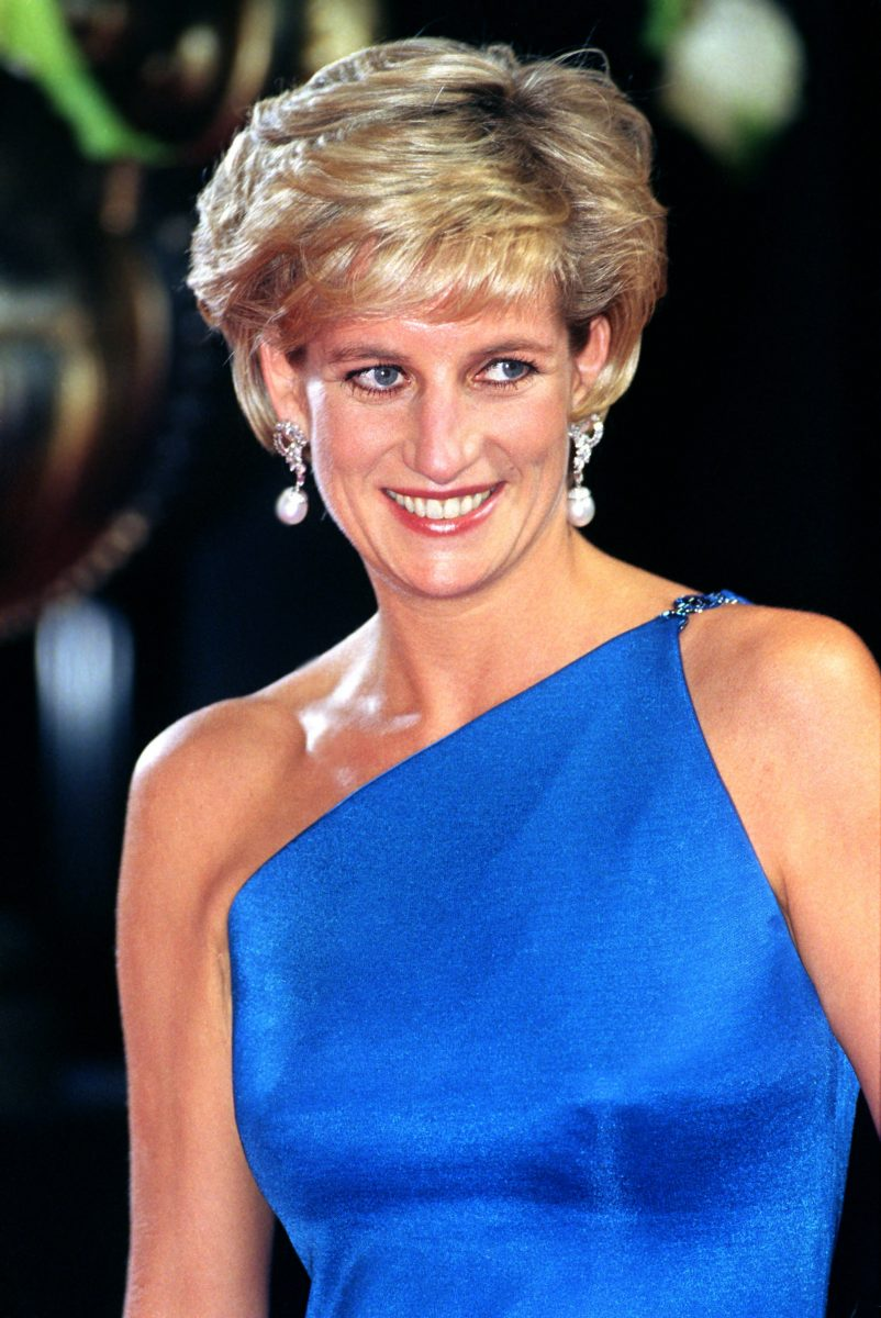 Princess Diana wearing a bright blue gown to The Victor Chang Research Institute Dinner Dance