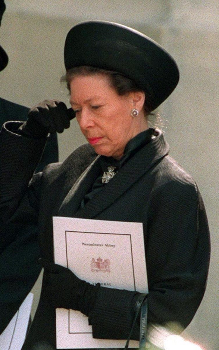 Princess Margaret standing outside Westminster Abbey after the funeral service for Princess Diana