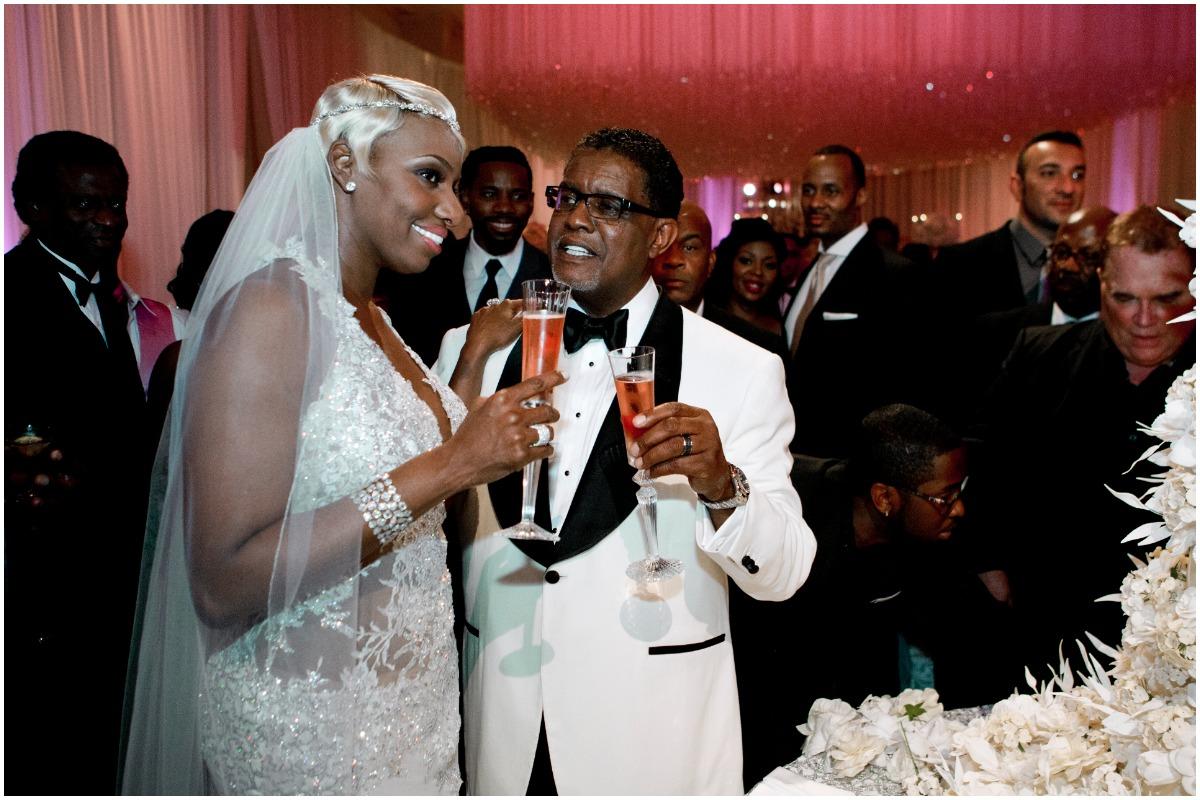 'RHOA' alum NeNe Leakes and Gregg Leakes smiling on their wedding day during Bravo's 'I Dream of NeNe'