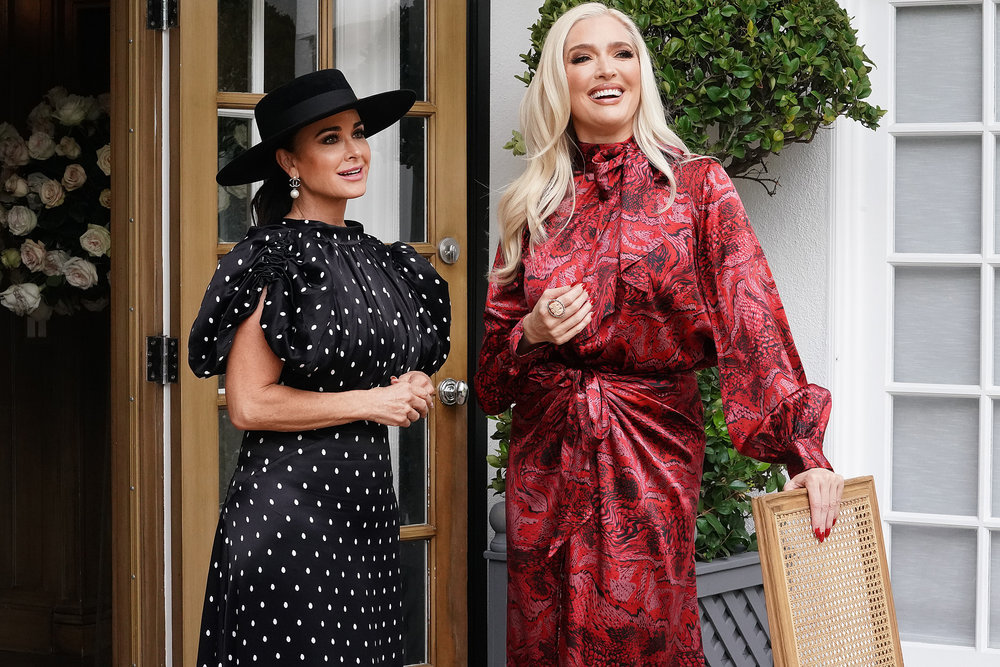Kyle Richards and Erika Girardi from The Real Housewives of Beverly Hills have dinner