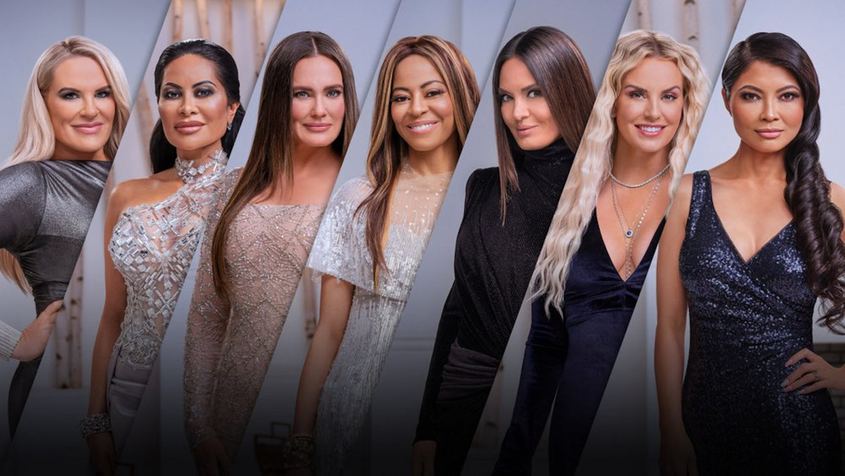 Heather Gay, Jen Shah, Meredith Marks, Mary Cosby, Lisa Barlow, Whitney Rose, and Jennie Nguyen in a promo image for 'The Real Housewives of Salt Lake City' Season 2