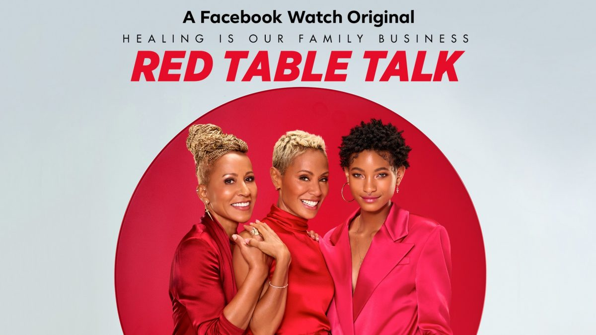 Red Table Talk stars Adrienne Norris Banfield Jada Pinkett Smith and Willow Smith posing for photographers
