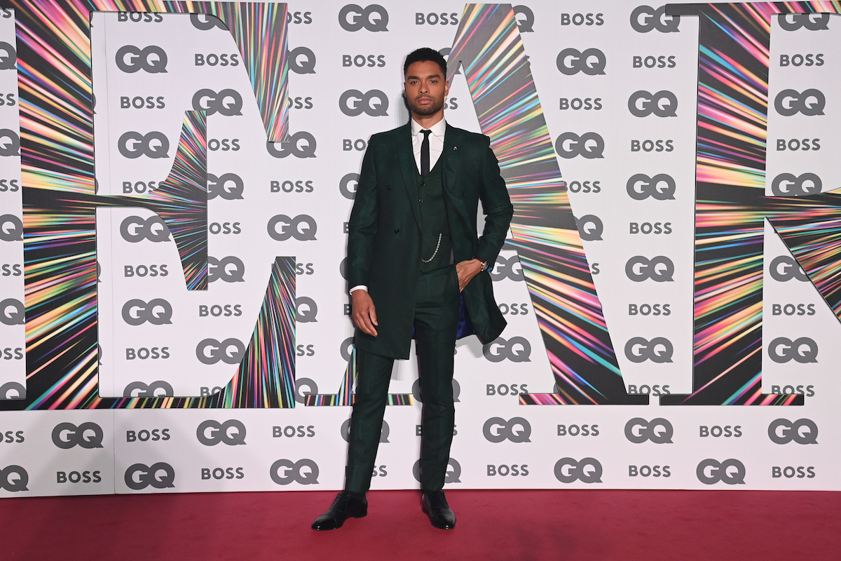 Emmy nominated actor Regé-Jean Page attends the GQ awards in a green suit