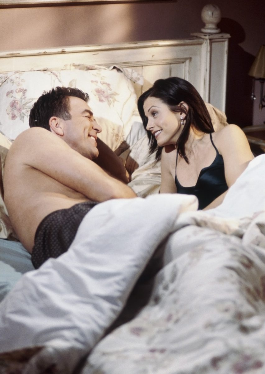 """Tom Selleck as Dr. Richard Burke and Courteney Cox as Monica Geller in """"The One Where Monica and Richard are Just Friends"""""""
