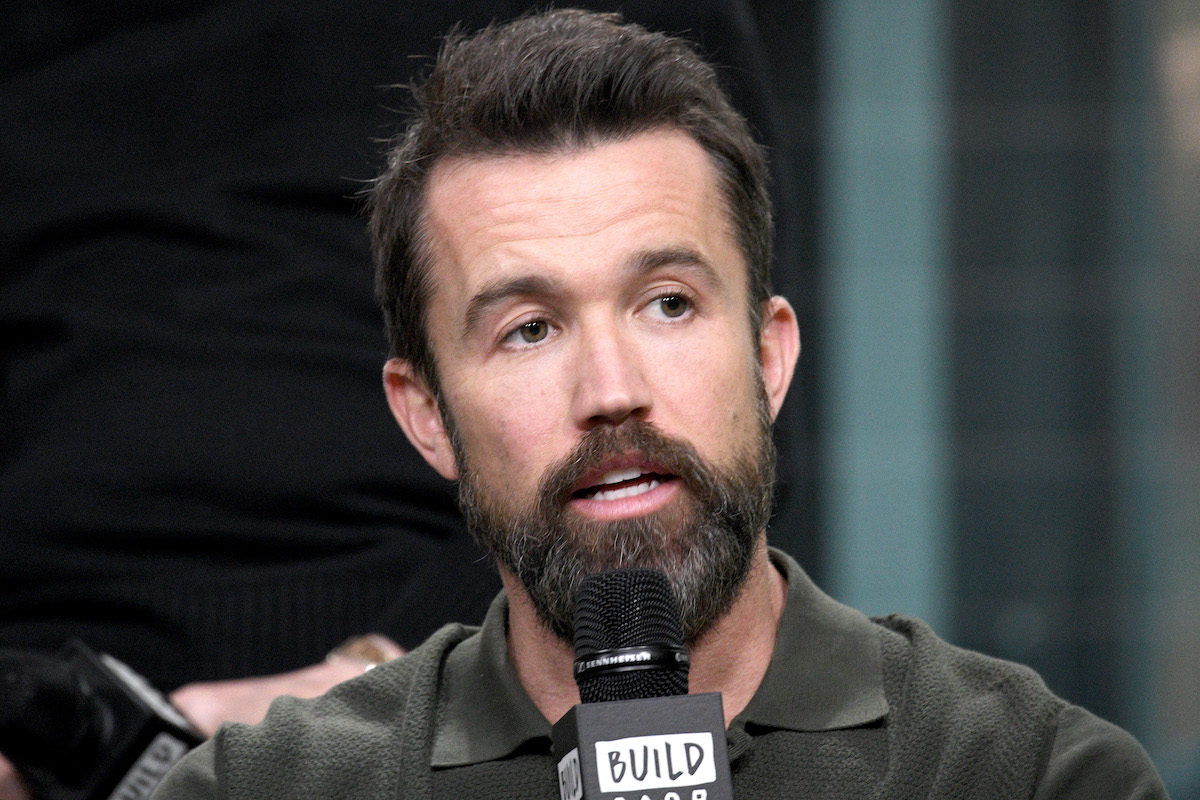 Rob McElhenney from 'It's Always Sunny in Philadelphia' speaking into a microphone.