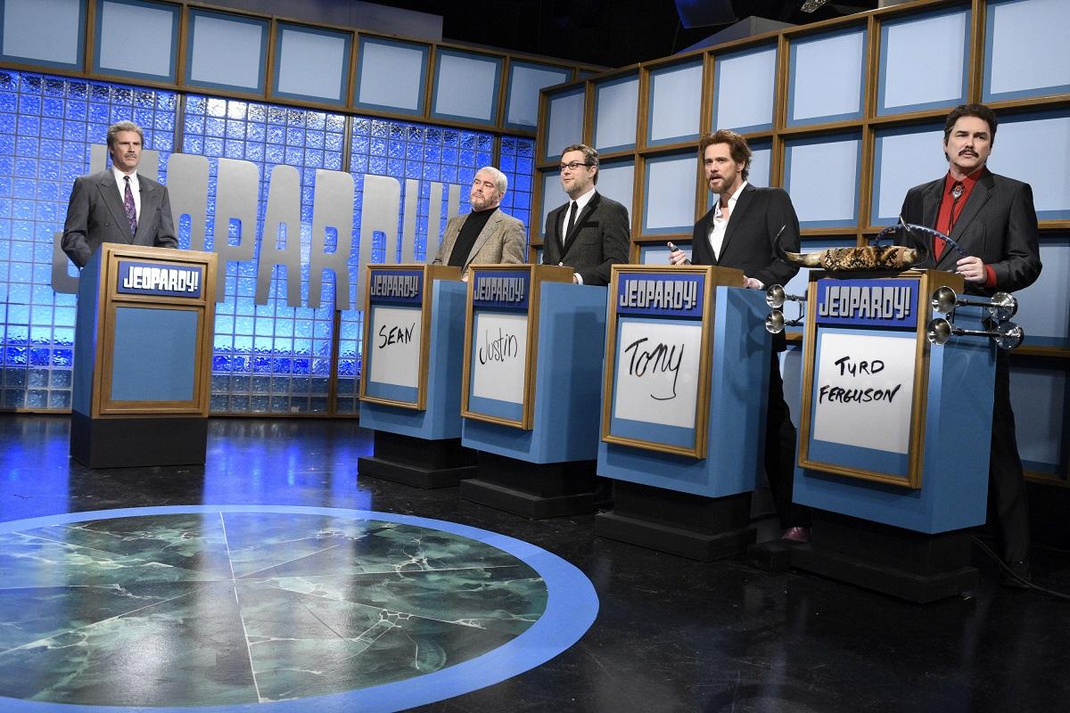 Will Ferrell, Darrell Hammond, Taran Killam, Jim Carrey, and Norm Macdonald looking at the camera during a 'Saturday Night Live' skit.