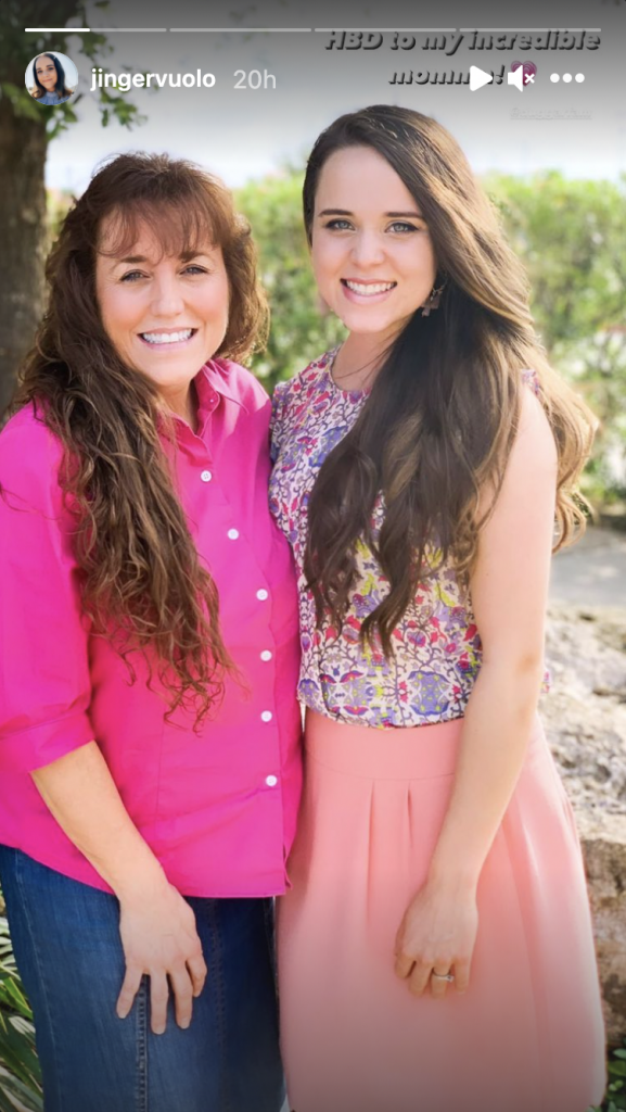 Jinger Duggar and Michelle Duggar standing next to each other with a caption wishing Michelle a happy birthday
