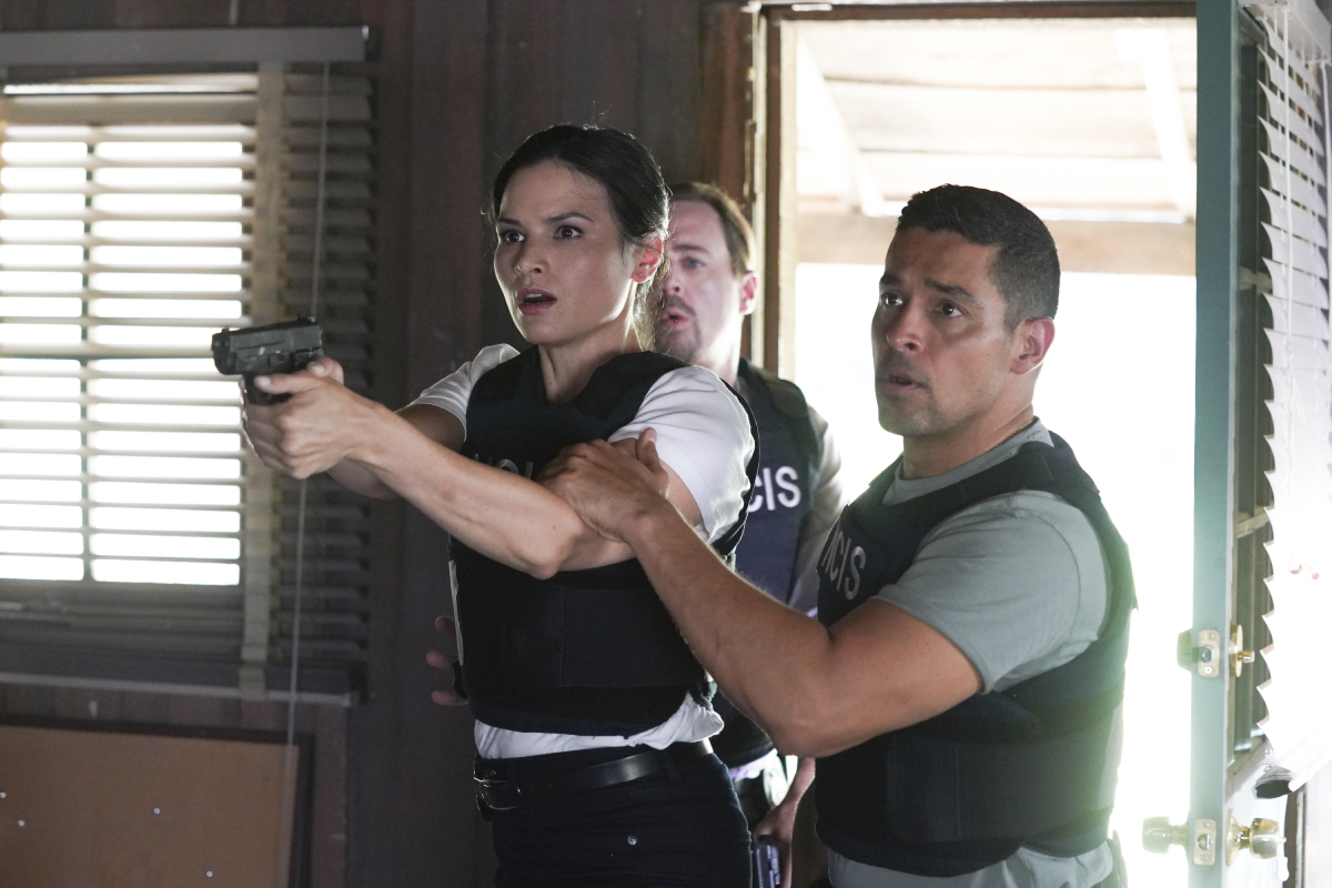 Sean Murray as NCIS Special Agent Timothy McGee, Katrina Law as NCIS Special Agent Jessica Knight, Wilmer Valderrama as NCIS Special Agent Nicholas Nick Torres in an image from 'NCIS' season 19 premiere