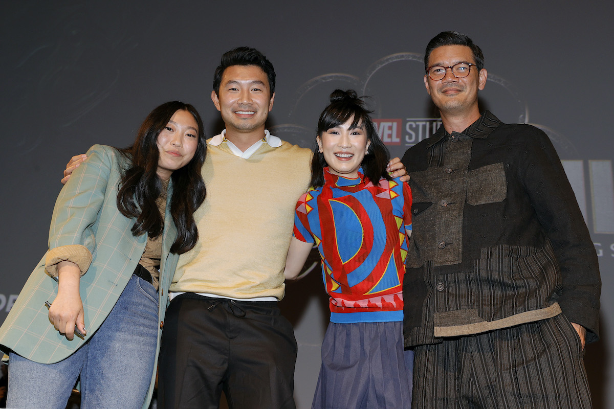 Awkwafina, Simu Liu, Meng'er Zhang, and Destin Daniel Cretton attend the Los Angeles VIP Gold Open Premiere + Q&A of Marvel Studios' SHANG-CHI AND THE LEGEND OF THE TEN RINGS