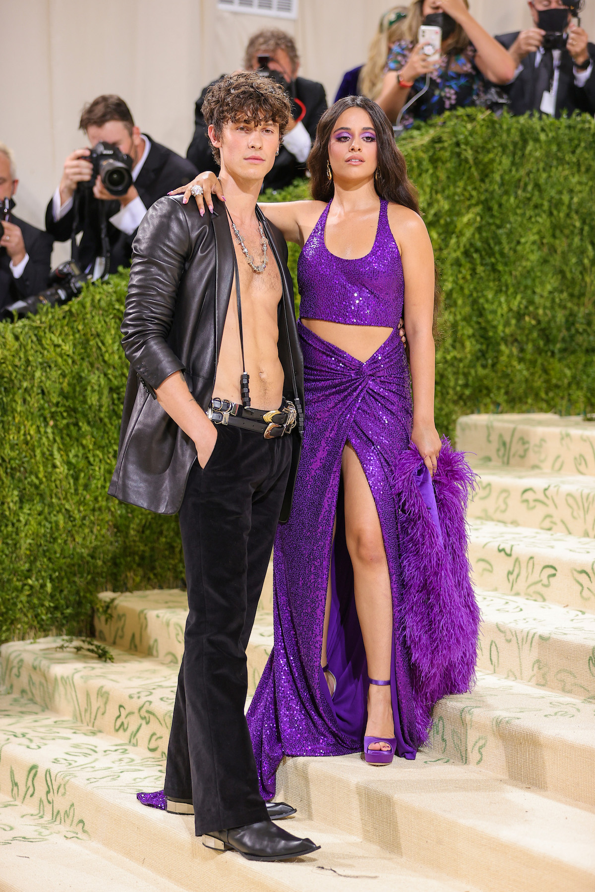 Shawn Mendes and Camila Cabello pose together at the 2021 Met Gala.
