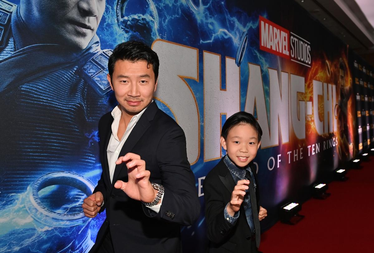 Simu Liu and Jayden Zhang at 'Shang-Chi' Toronto premiere
