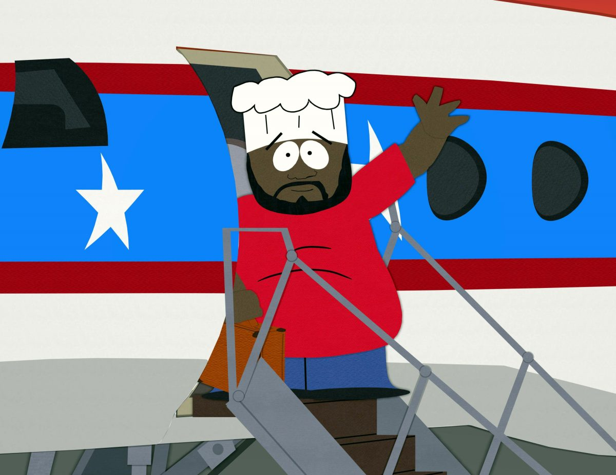 South Park: Chef waves from an airplane
